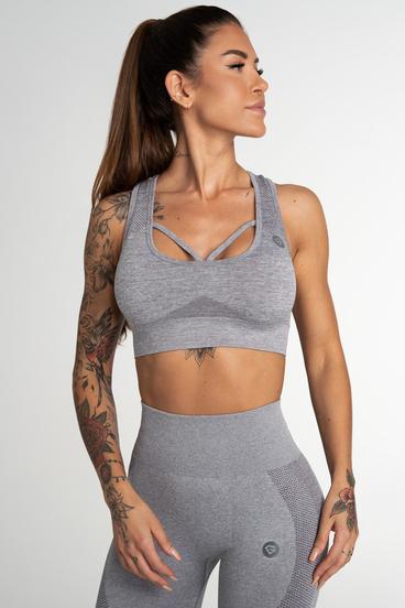 Gym Glamour Bezešvá Podprsenka Fusion Light Grey