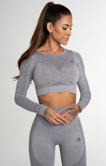 Gym Glamour Crop Top Bezešvý Fusion Light Grey