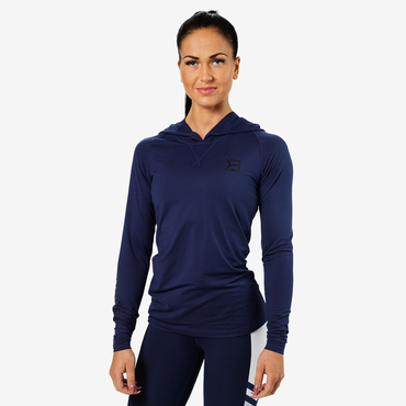 Better Bodies Tričko Performance Long Sleeve Hood Dark Navy