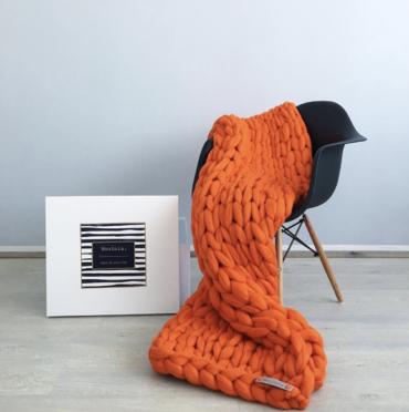 Merino Vlněná Deka Orange 130x150cm
