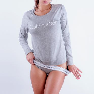 Calvin Klein Mikina Šedá S Nápisem