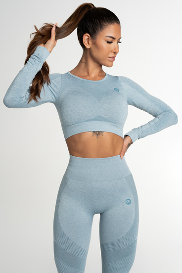 Gym Glamour Crop Top Bezešvý Fusion Blue