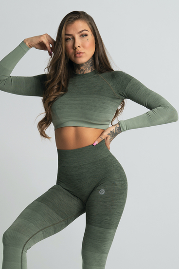 Gym Glamour Crop-Top Khaki Ombre