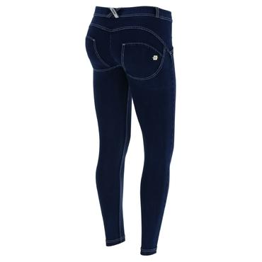 Freddy Jeans 7/8 Modré S Bílými Švy Normální Pas SS18