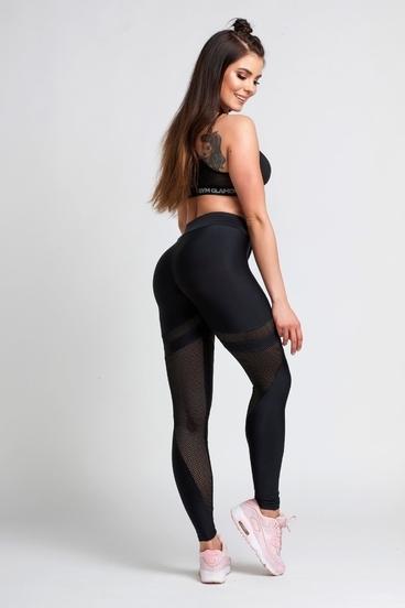 Legíny Gym Glamour Black Mesh