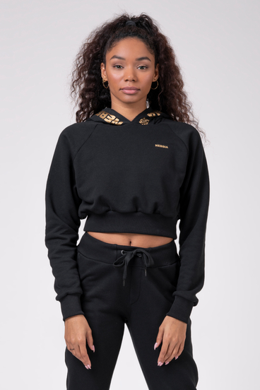 Nebbia Mikina 824 Cropped Hoodie Golden Black
