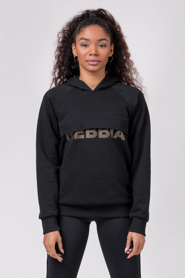 "Nebbia Mikina 825 Long Hoodie ""Intense Focus"" Black"