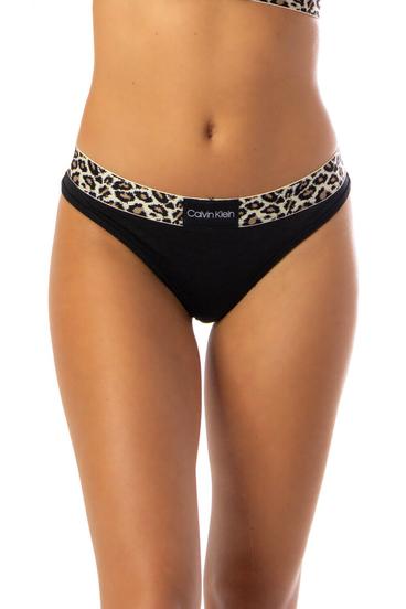 Calvin Klein Tanga Leopard Černé