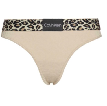 Calvin Klein Tanga Leopard Béžové