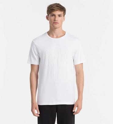 Calvin Klein Pánské Tričko S Nápisem Bílé