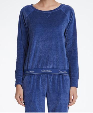 Calvin Klein Semišová Mikina Modrá