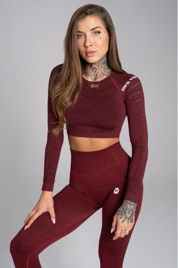 Gym Glamour Crop-Top Bordo Melange