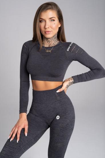 Gym Glamour Crop-Top Grey Melange