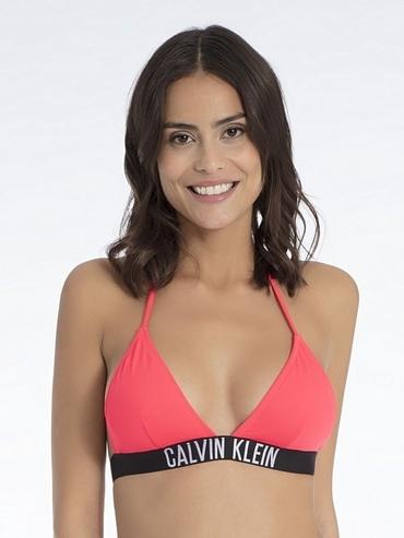 Calvin Klein Plavky Fixed Triangle Diva Pink Vrchní Díl