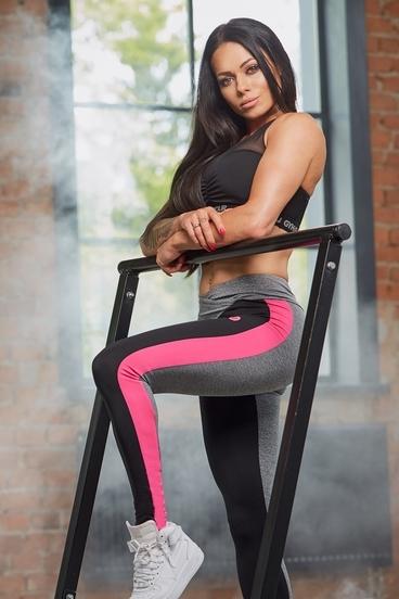 Legíny Gym Glamour S Pink Fluo Pruhem