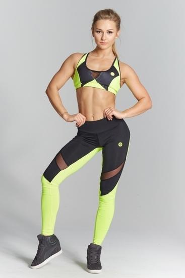 Legíny Gym Glamour Green Fluo