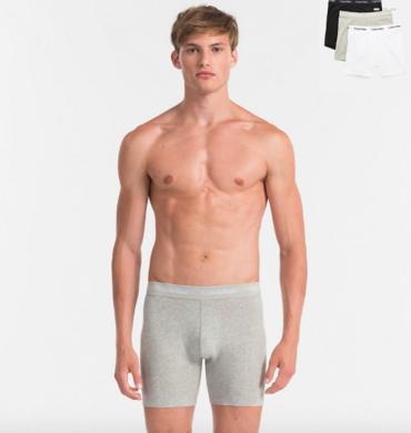 Calvin Klein 3Pack Boxerky Dlouhé Bílé, Šedé A Černé