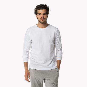 Tommy Hilfiger Pánské Tričko S Dlouhým Rukávem Bílé