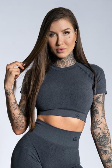 Gym Glamour Crop-Top s krátkým rukávem Dark grey ombre