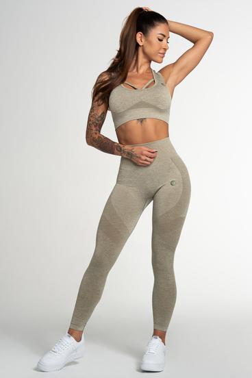 Gym Glamour Legíny Bezešvé Fusion Khaki