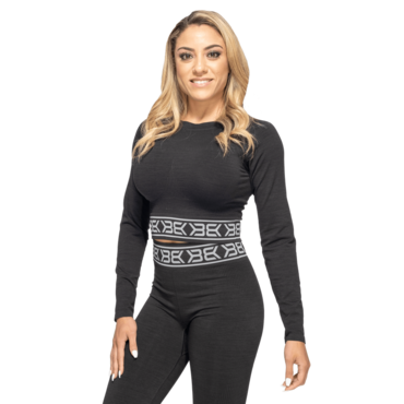 Better Bodies Crop-Top Rib Seamless LS Black Melange