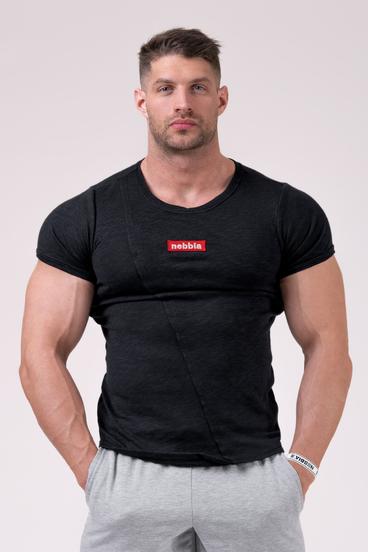 Nebbia Tričko 172 Label Muscle Back - Černé