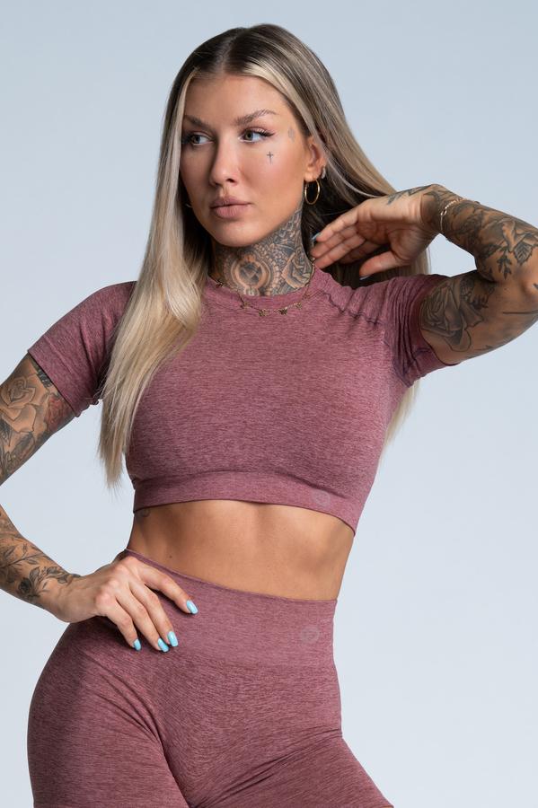 Gym Glamour Crop-Top s krátkým rukávem Rose Taupe, L - 1