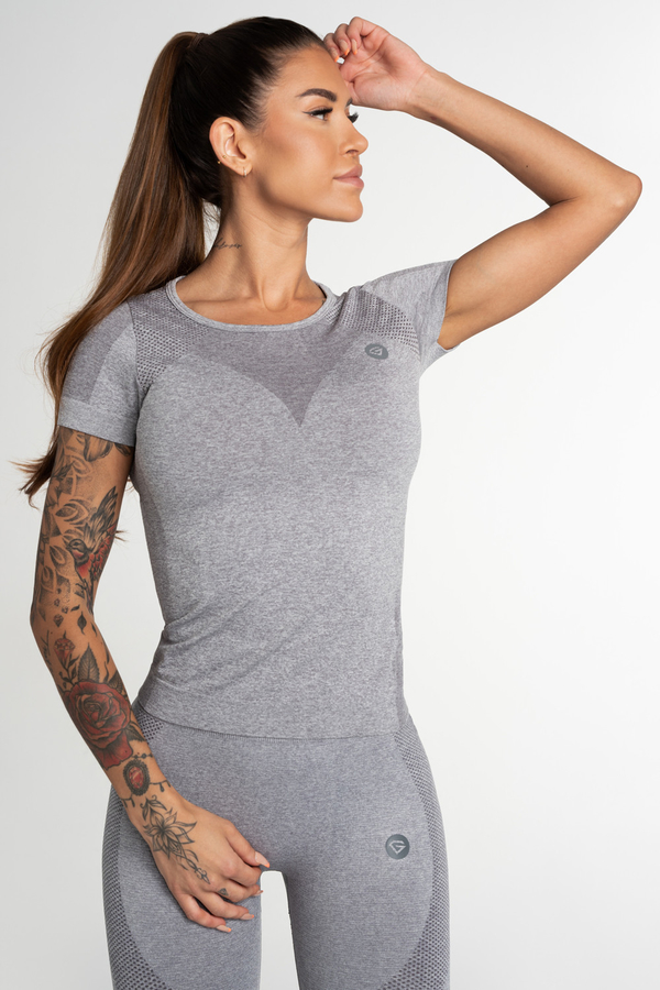 Gym Glamour Tričko Bezešvé Fusion Light Grey, S - 1