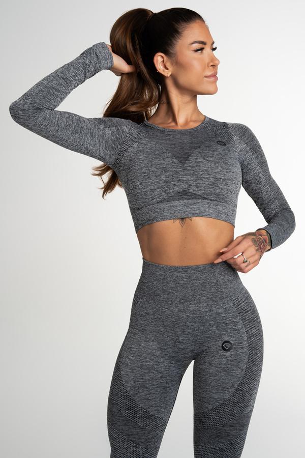 Gym Glamour Crop Top Bezešvý Fusion Dark Grey, L - 1