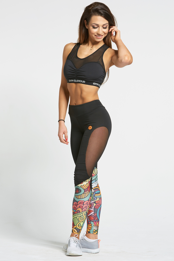 Gym Glamour Legíny Black&Colorful Love, L - 1