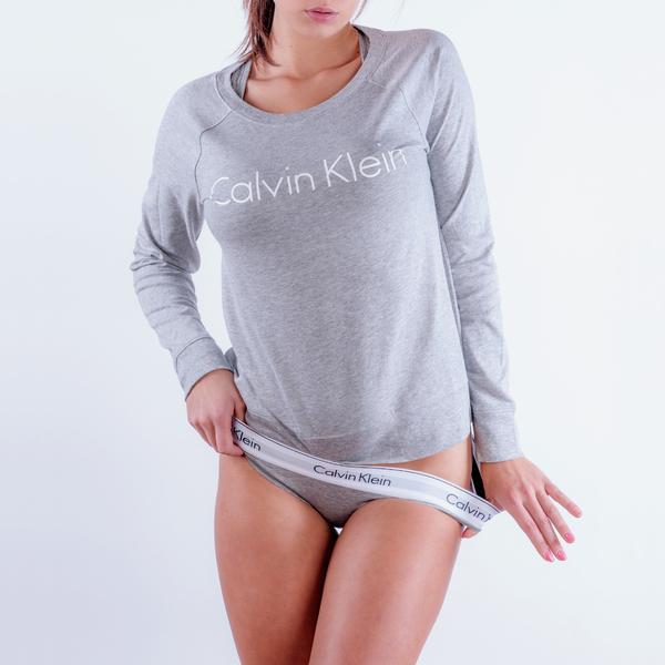 Calvin Klein Mikina Šedá S Nápisem - 1