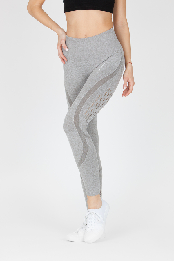 Naine 4.0. Bezešvé Legíny Stripes - Grey, L - 1