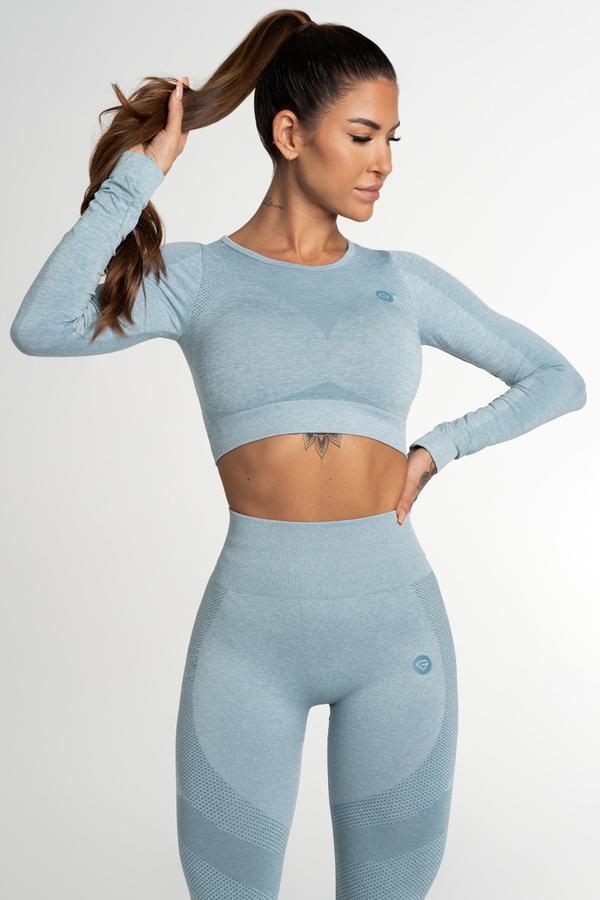 Gym Glamour Crop Top Bezešvý Fusion Blue, M - 1