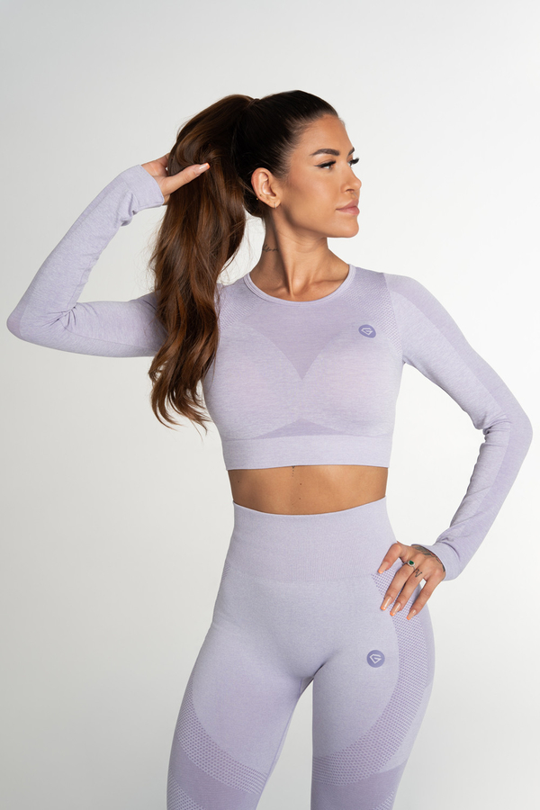 Gym Glamour Crop Top Bezešvý Fusion Lavender, S - 1