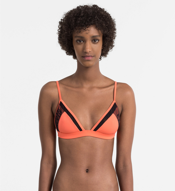 Calvin Klein Plavky Triangle Hot Coral Vrchní Díl, M - 1