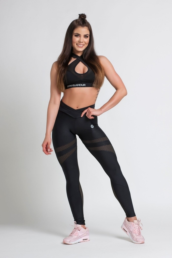 Gym Glamour Legíny Black Mesh, M - 1