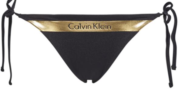 Calvin Klein Plavky Cheeky String Side Black&Gold Spodní Díl, XS - 1