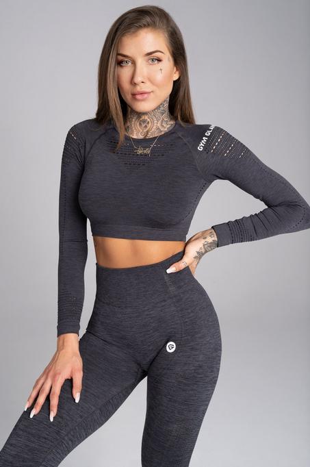 Gym Glamour Crop-Top Grey Melange, S - 1