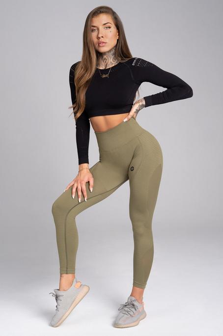Gym Glamour Legíny Bezešvé Combat Khaki, S - 1