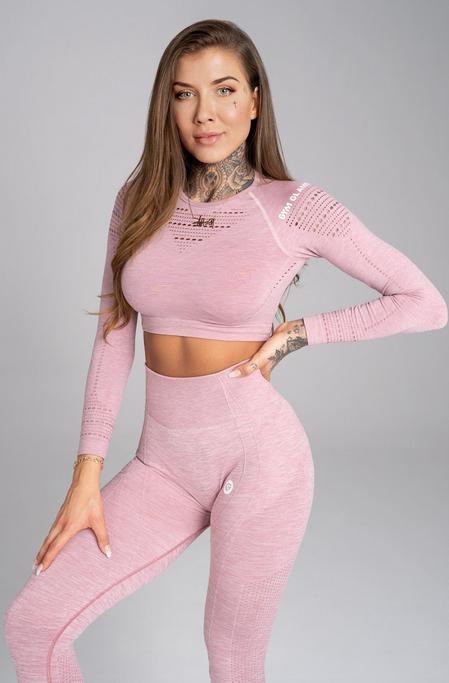 Gym Glamour Crop-Top Pink Melange, XS - 1