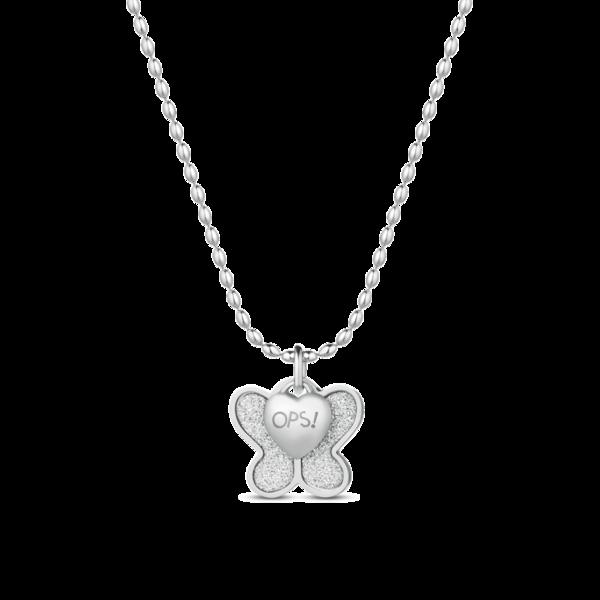 Ops! Objects Glitter Náhrdelník Silver Butterfly - 1