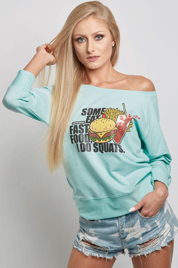 """Gym Glamour Mikina Mentolová """"Fast Food"""", S - 1"""
