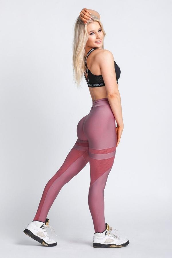 Gym Glamour Legíny Dirty Pink Mesh, XS - 1