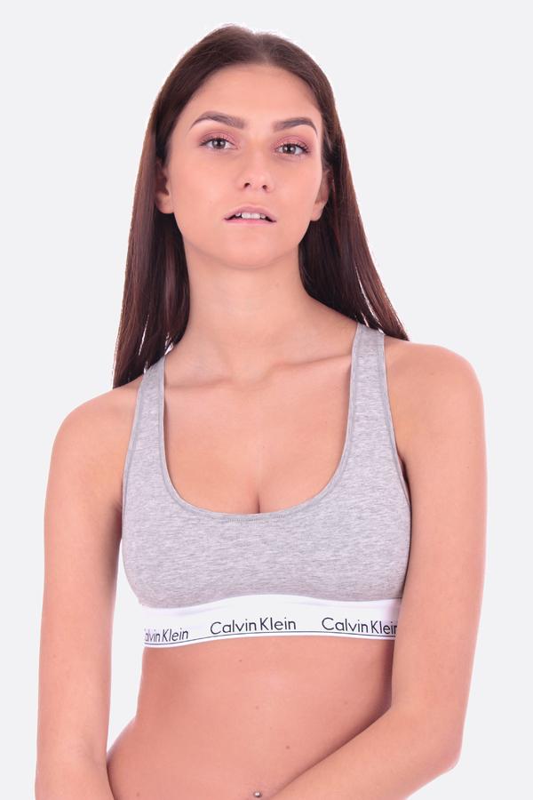Calvin Klein Podprsenka Bralette Unlined Šedá, M - 1