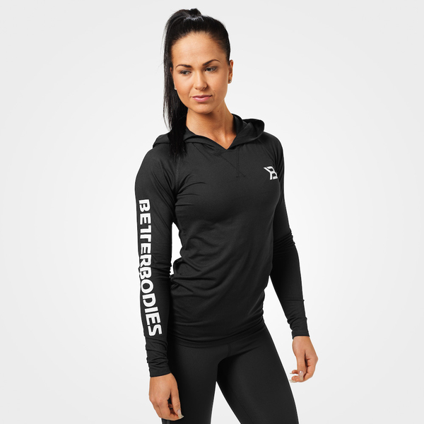 Better Bodies Tričko Performance Long Sleeve Hood Black, XS - 1