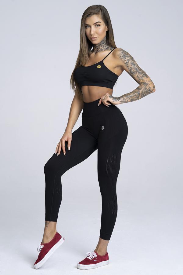 Legíny Gym Glamour Bezešvé Black, S - 1