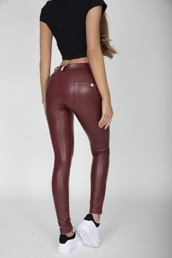 Hugz Wine Faux Leather Mid Waist, XL - 1