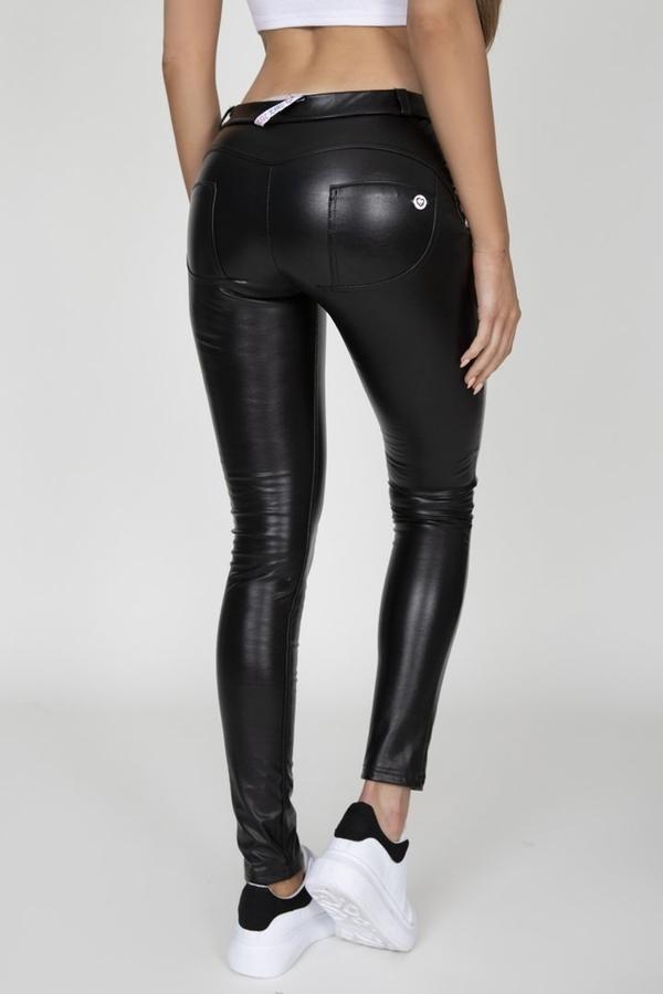 Hugz Black Faux Leather Mid Waist, M - 1