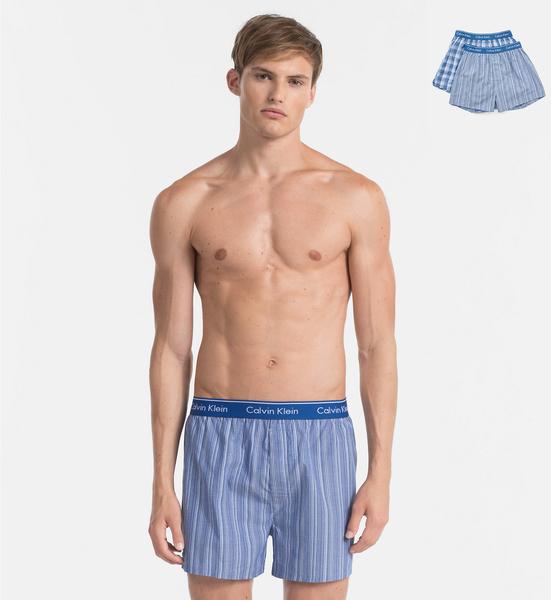 Calvin Klein 2Pack Trenky Modré Se Vzory - 2