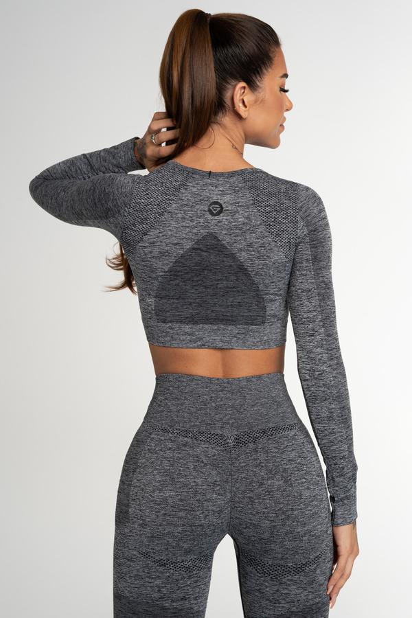 Gym Glamour Crop Top Bezešvý Fusion Dark Grey, L - 2